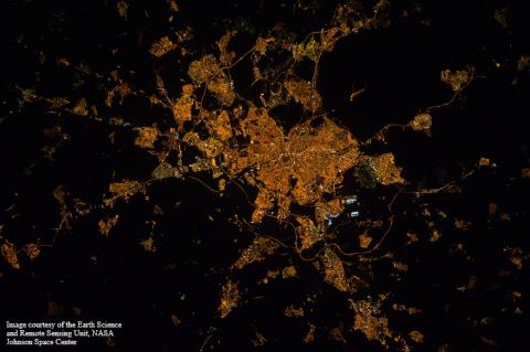 International Space Station night image of Madrid, courtesy of the Earth Science and Remote Sensing Unit, NASA. 12 February 2012. Time: 02:22:46 GMT (local time 03:22:46)(ISS030-E-82052) (Credit: Earth Science and Remote Sensing Unit, NASA)